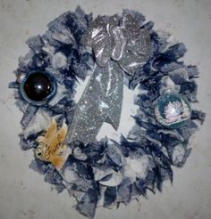 #Silver and Blue Faith Christmas Wreath. Looking for A Home!!   $35.00