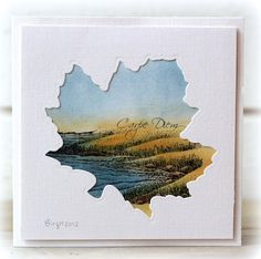handmade card ... seashore colored image behind maple leaf die cut ... awesome talent!!