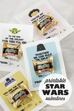 Have a kiddo that geeks out on all things Star Wars? Skip the overpriced boxes at the store, and download these adorable Star Wars Valentines instead. Great last minute option that's still cute and creative!