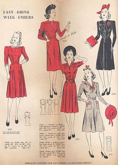 Simplicity patterns, 1940.  //  Dress with sailor collar, lower right.