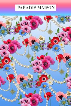 French Poppy Flower Fabric from Paradis Maison.com Poppy Flower Decor & Pillows