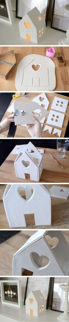 Amazing DIY Votive Candle Holder Ideas DIY House Candle Holder With Air Dry Clay. Make this cute house candle holder with air dry clay! Perfect decor for your holiday party. Bringing a beautiful glow to any environment. House Candle Holder, Diy Candle Holders, Home Candles, Diy Candles, Scented Candles, Diy And Crafts, Crafts For Kids, Kids Diy, Decor Crafts