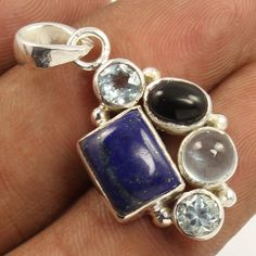 Natural LAPIS LAZULI & Other Gemstones 925 Sterling Silver Jewellery Pendant NEW #Unbranded #Pendant