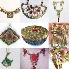 A collection of jewelry pieces, all hand cut from the 1930s tin pictured in the center. Enjoy!
