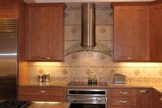 Kitchen Tile Backsplash in Contemporary Shaker Door Kitchen - Maple Chocolate & Honey finishes