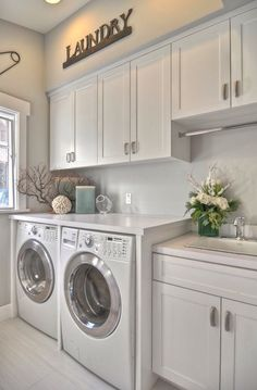 Love this classic look for a laundry.