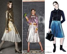 This is a two trend in one pin: pleats and high metallic shine; either silver or gold will do just fine!