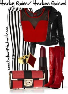 Harley Quinn by m-gnoud featuring stiletto high heel boots love everything except the pants Harley Quinn Disfraz, Harley Quinn Cosplay, Joker And Harley Quinn, Anime Inspired Outfits, Character Inspired Outfits, Themed Outfits, Casual Cosplay, Cosplay Outfits, Super Hero Outfits