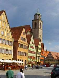 The Romantic Road-Dinkelsbuhl-Historic Old Town and Patrician Homes on Market Square.