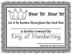 SO cute!!!!  King and queen of handwriting!  Great to motivate!  FREE certificates to print!