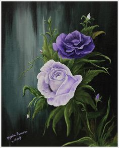 Purple Roses  Original Oil/Acrylic Painting by MarieParsonsArt