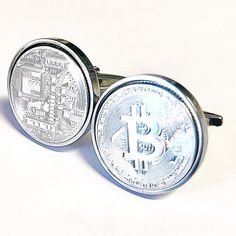 Bitcoin Cufflinks -Silver plated bitcoin cufflinks -  100% satisfaction Guarantee - Presented in Cufflinks Gift box - Peer to Peer - by worldcoincufflinks on Etsy