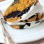 Pumpkin chocolate marble cake with cream cheese glaze...mmm