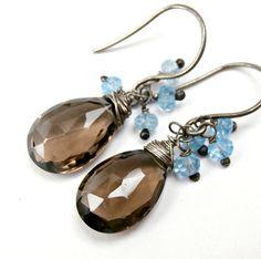 Brown Wire Wrap Dangle Earring Blue Quartz by DoolittleJewelry, $29.00