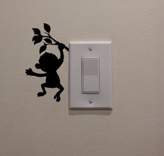 "Already purchased!  Cartoon Monkey Hanging on Limb from Light Switch (2.75""W x 5""H) - Bedroom/Home…"