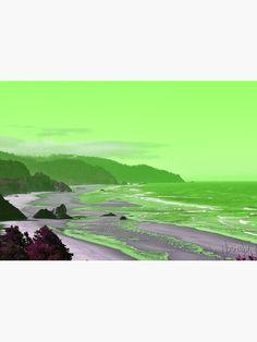 """Long sandy beach facing rough ocean in green"" Canvas Print by Artlajf   Redbubble Green And Purple, Nature Photos, Photo Art, Ocean, Canvas Prints, Explore, Wall Art, Beach, Creative"