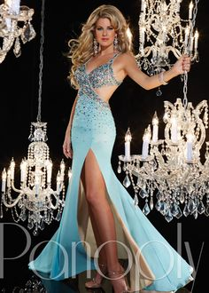 Panoply 14629 -Aqua/Nude Beaded Trumpet Prom Dresses Online