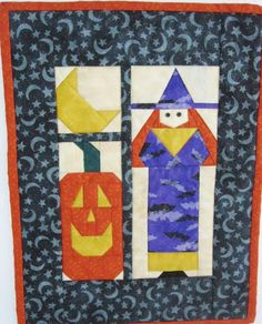AUTUMN, FALL , Quilted Paper Pieced Table Mat, table center piece or Wall hanging, has sleeve for hanging by QuiltingbyDiamanti on Etsy Halloween Quilts, Fall Quilts, Miniature, Table Centers, Glitter Fabric, Stars And Moon, Table Centerpieces, Decoration, Crochet