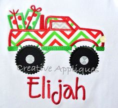 Monster Truck with Gifts Christmas and Birthday Machine Embroidery Design 4 Sizes, $3.99