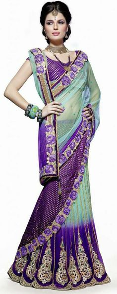 USD 131.76 Purple A Line Zardosi Work Net Party Wear Lehenga Saree 27143