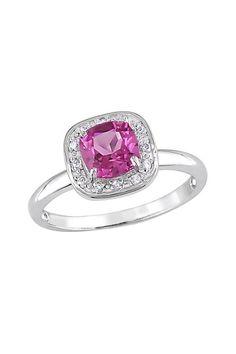 10K White Gold Cushion Pink Topaz & Diamond Halo Ring
