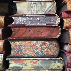 Marbled edges of antique Danish books.  Seriously cool.