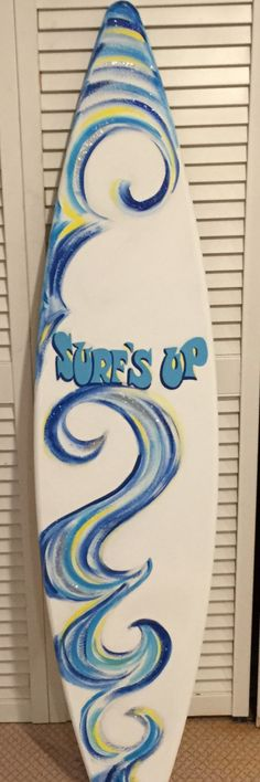 5FT surf surfboard Surfs Up beach wall decor art hand painted sign blue silver yellow wave on sale! ready to ship by SurfboardBeachArt on Etsy