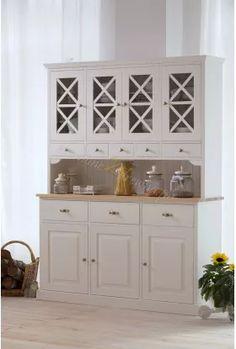 Biały kredens sosnowy Nicea 03 do kuchni 4 przeszklone drzwi 3 drewniane drzwi 3 szuflady 5 szufladek