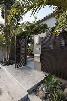 Different materials for modern entrance gate designs concrete path with palm .Different materials for modern entrance gate designs concrete path with palm ., concrete path entrance gate designs for materials 71 Modern Front Yard, Modern Entrance, Front Yard Fence, Entrance Gates, House Entrance, Entrance Ideas, Modern Gates, House Front Gate, Garden Entrance