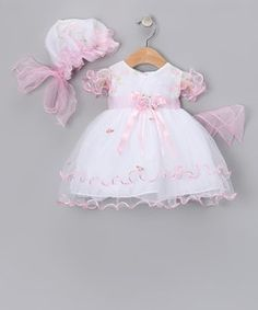 White & Pink Curlicue Dress & Bonnet - Infant, Toddler & Girls | Something special every day