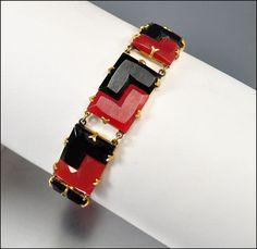 Art Deco Bracelet Carnelian Black Step Glass Gold
