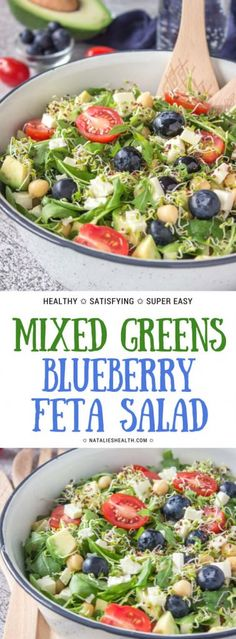 Mixed Greens Blueberry Feta Salad is summery salad full of vibrant colors and flavors. Packed with proteins, fibers, and powerful antioxidants, this salad is well-balanced meal rich in nutrients. SO fresh, easy and gorgeous! Perfect for lunchbox, potlucks, and picnics. #healthy #healthylife #healthyrecipe #salad #saladrecipe #lunch #weightlossrecipes #blueberry #recipe | NATALIESHEALTH.com
