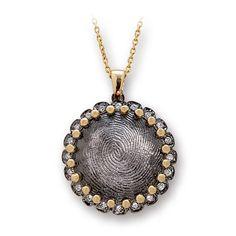 Pırlanta 18 Ayar Altın Parmak İzi Kolye Huella Dactilar, özel tasarım kolye, hediye kolye, parmak izi koleksiyonu