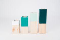 minimale Kerzenständer aus Holz // minimal wooden candle holder set via DaWanda.com