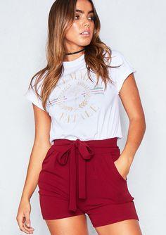 Sian Wine Tie Waist Shorts