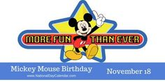From a rabbit named Oswald to a mouse named Mortimer, today is Mickey Mouse Birthday and you can get the entire story here. National Adoption Day, Buddy Ebsen, Rabbit Names, National Days, National Holidays, National Day Calendar, First Animation, Disney Mickey, Walt Disney