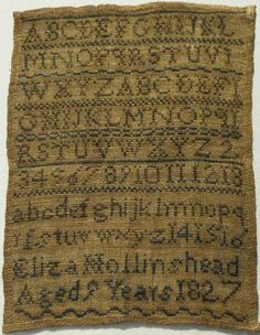 SMALL EARLY 19TH CENTURY ALPHABET SAMPLER BY ELIZA HOLLINSHEAD AGED 9 - 1827