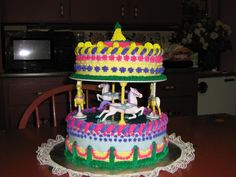 This is wiltons new Carousel Horses Separtor Set. I made this just for fun, it  is done in fondant and buttercream icing. the bottom separator plate sits on top of bottom cake, so I used the fondant so the plate could be removed hopefully without removing the icing. This was a fun cake to make,I think my Grandchildren will really like it it looks fun to make. it is asome