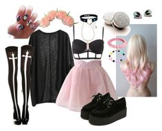 A fashion look from July 2015 featuring Chicwish skirts, Charlotte Russe bras and ASOS bracelets. Browse and shop related looks. Pastel Goth Outfits, Pastel Goth Fashion, Pastel Outfit, Kawaii Fashion, Cute Fashion, Gothic Fashion, Fashion Women, Women's Fashion, Steampunk Fashion