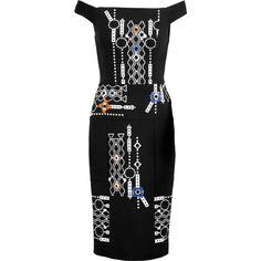 Peter Pilotto Arcade embellished embroidered stretch-crepe and... (855 SGD) ❤ liked on Polyvore featuring dresses, black, multi color dress, multicolored dress, multi-color dresses, twill dress and broderie dress