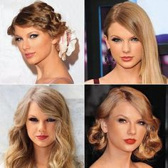 Taylor Swift. bottom left is perfect! wish i could get my hair to do that