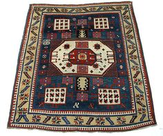 """Karachov"" Kazak Carpet - Mid–late 19th century, South Caucasus, Kazak, Islamic, Wool (warp, weft, and pile); symmetrically knotted pile, Dimensions: H. 82 in. (208.3 cm) W. 66 in. (167.6 cm)"
