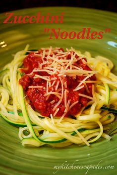 Zucchini spaghetti noodles. from My Kitchen Escapades