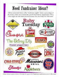 relay for life fundraiser - seems this is quite popular in US The restaurant gives % of taking for particular evening/timeslot for anyone with a flyer in return for you promoting it - e.g we would have to hand out flyers for the restaurant.  Might be worth looking into