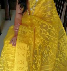 Lemon yellow Bangladeshi jamdani saree:
