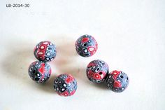 Handmade Polymer Clay Beads, Polymer Clay Beads for Sale, Jewelry Making Supplies, Bead Supplies, Black Dot Beads