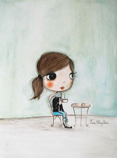Paris e um café | Série Little moments | Guache sobre papel