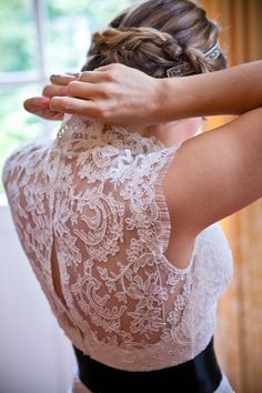 Lace back wedding gown, photo by One and Only Paris Photography