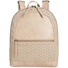 Style & Co. Airyell Daisy Perforated Backpack, (885 ZAR) ❤ liked on Polyvore featuring bags, backpacks, beige, backpack bags, pink bag, vegan leather bags, faux leather backpack and daisy backpack