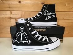 High top converse hand painted with a Panic! at the Disco design, the perfect gift for any Panic! at the Disco fan! Panic! At The Disco, Custom Converse, Custom Shoes, Converse Shoes, Emo Shoes, Casual Cosplay, Disco Shoes, Emo Bands, Music Bands